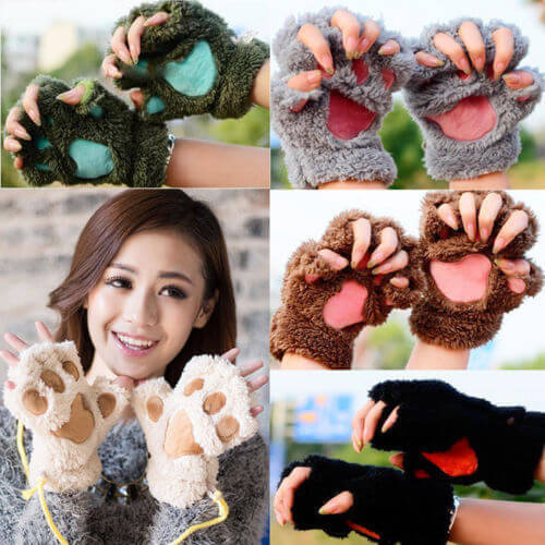 Women Cute Cat Claw Paw Plush Mittens Warm Soft Plush Short Fingerless Fluffy Bear Cat Gloves Costume Half Finger Black Beige 21