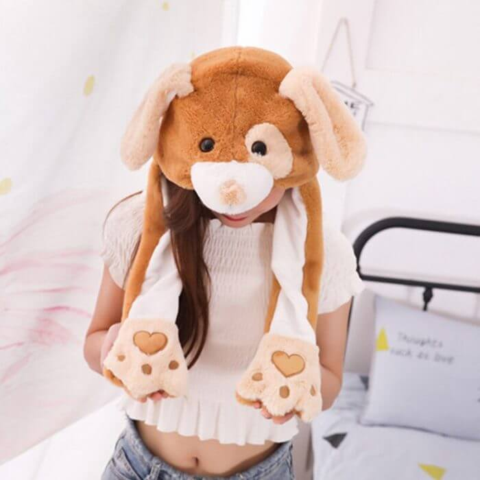 2020 New Cartoon Hats Moving Ears Cute Rabbit Toy Hat Airbag Kawaii Funny Hat for Girls Cap Kids Plush Toy Christmas Gift 6