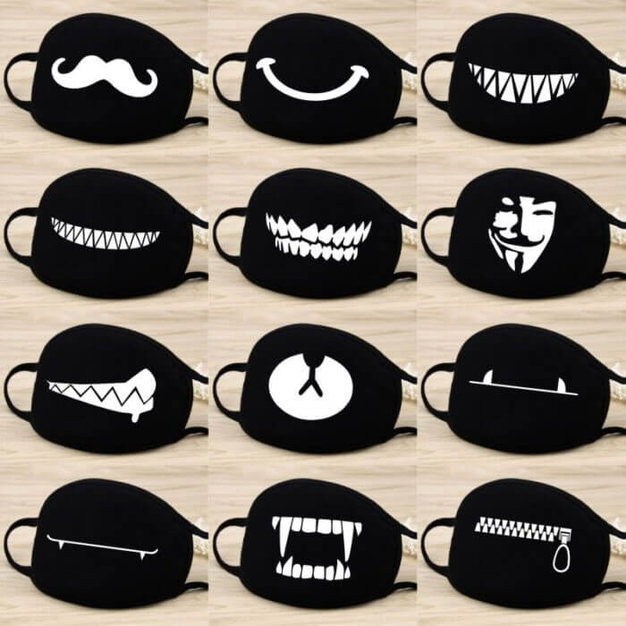 Cotton Dust Mask Cartoon Expression Teeth Muffle Chanyeol Face Respirator Anti Kpop Bear Mouth Mask 1