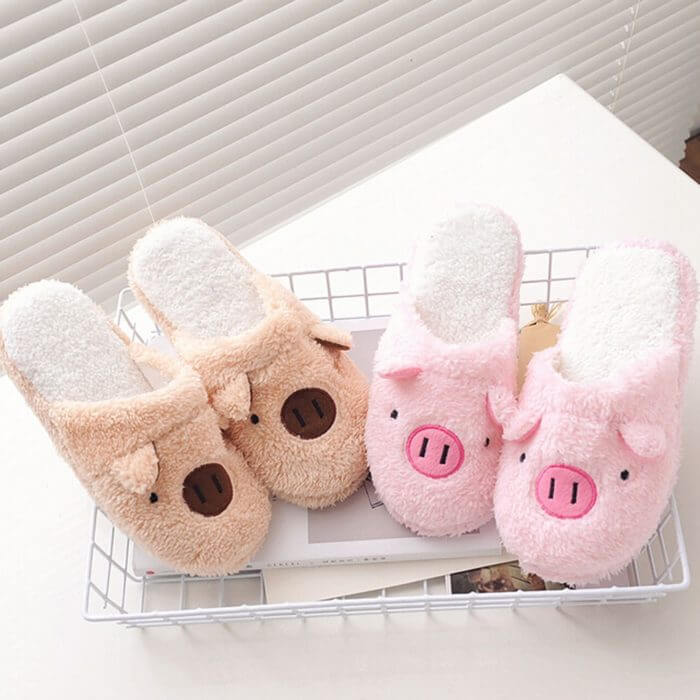Winter household slippers pig shape slippers women slippers designer slippers home floor soft striped slippers women shoes @py 1