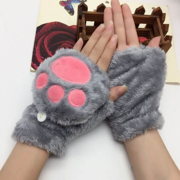 Women Girls Winter Thickened Plush Cute Cat Claw Bear Paw Flip Gloves Contrast Color Fingerless Convertible Mittens Wrist Warmer 4