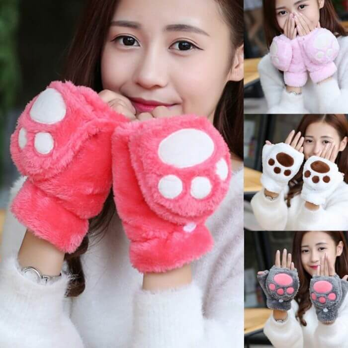Women Girls Winter Thickened Plush Cute Cat Claw Bear Paw Flip Gloves Contrast Color Fingerless Convertible Mittens Wrist Warmer 1