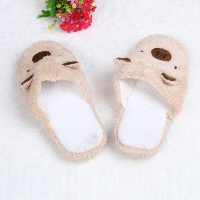 Winter household slippers pig shape slippers women slippers designer slippers home floor soft striped slippers women shoes @py 6