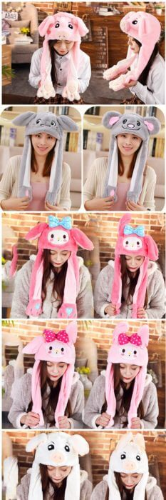 2020 New Cartoon Hats Moving Ears Cute Rabbit Toy Hat Airbag Kawaii Funny Hat for Girls Cap Kids Plush Toy Christmas Gift 58