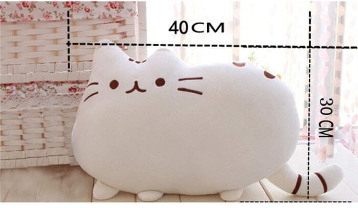 40*30cm Kawaii Cat Pillow With Zipper Only Skin Without PP Cotton Biscuits Plush Animal Doll Toys Big Cushion Cover Peluche Gift 4