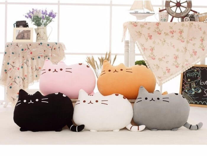 40*30cm Kawaii Cat Pillow With Zipper Only Skin Without PP Cotton Biscuits Plush Animal Doll Toys Big Cushion Cover Peluche Gift 20
