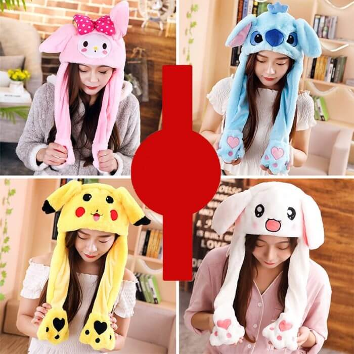 2020 New Cartoon Hats Moving Ears Cute Rabbit Toy Hat Airbag Kawaii Funny Hat for Girls Cap Kids Plush Toy Christmas Gift 1
