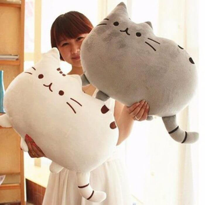 40*30cm Kawaii Cat Pillow With Zipper Only Skin Without PP Cotton Biscuits Plush Animal Doll Toys Big Cushion Cover Peluche Gift 1