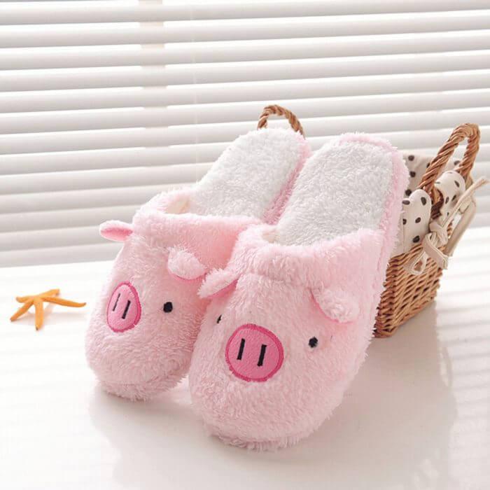 Winter household slippers pig shape slippers women slippers designer slippers home floor soft striped slippers women shoes @py 2