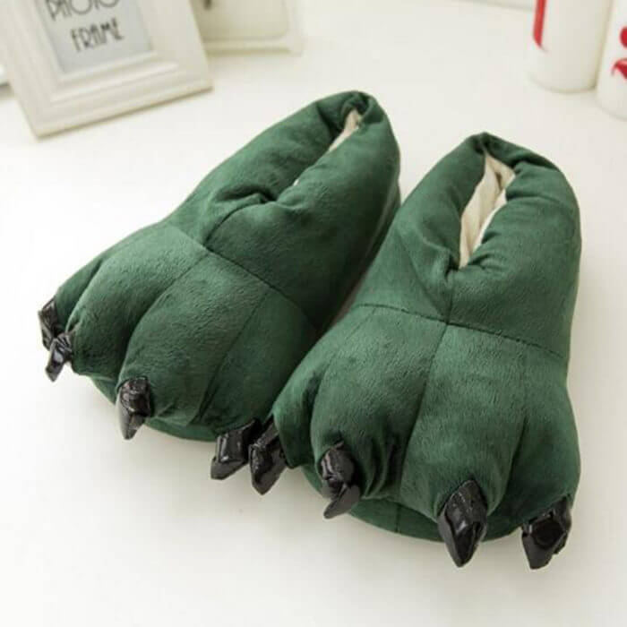 Men Women Cute Animal Paw Claw Shoes Slippers Black 10