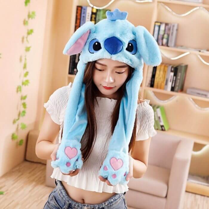 2020 New Cartoon Hats Moving Ears Cute Rabbit Toy Hat Airbag Kawaii Funny Hat for Girls Cap Kids Plush Toy Christmas Gift 3