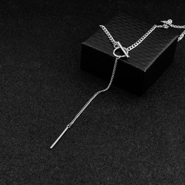 Idol Same Jewelry Fashion Stainless Steel Necklace Long Tassel Pendant Chain Choker Necklace Men Women Gift kpop 4