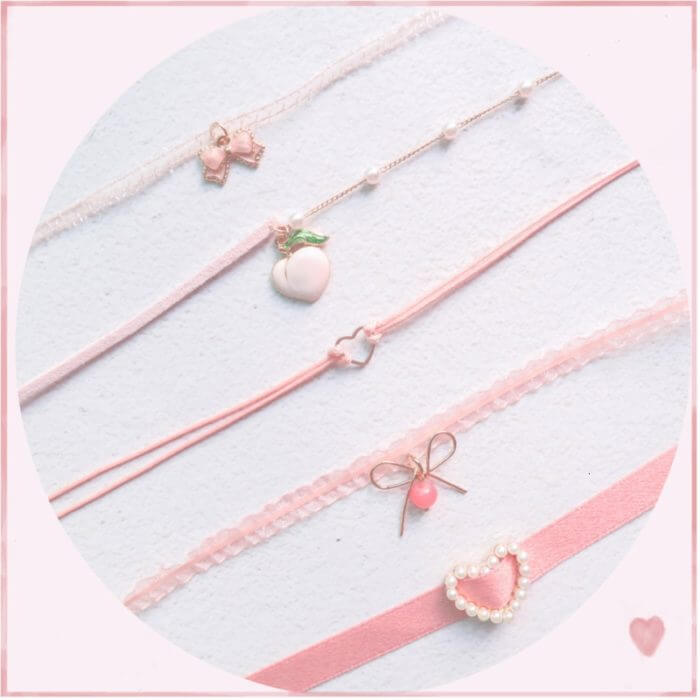 Japanese Kpop 2020 Spring New Pink Peach Heart Pendant Choker Short Clavicle Necklaces Fashion For Girl Cute Aesthetic Jewelry 1