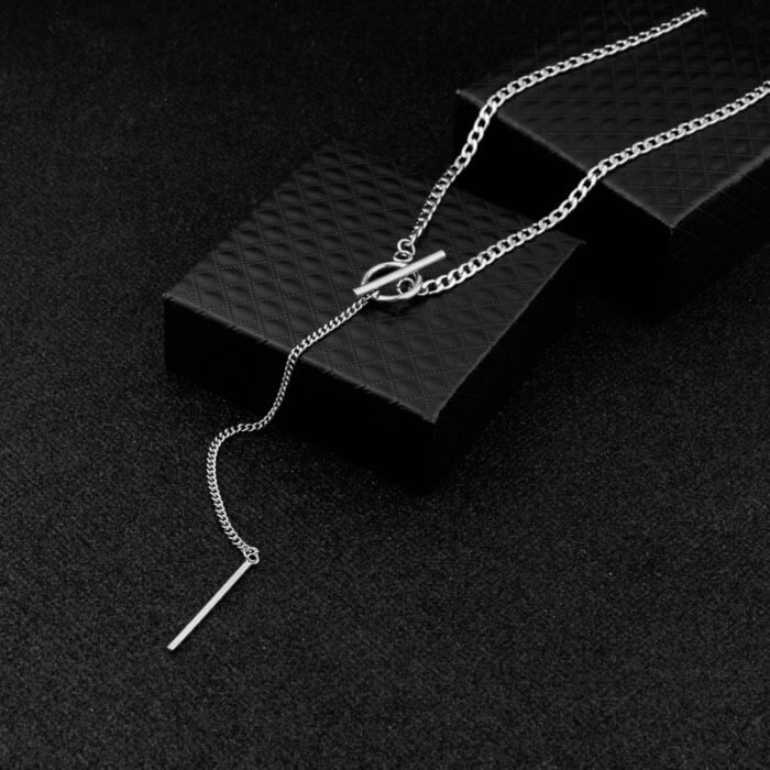 Idol Same Jewelry Fashion Stainless Steel Necklace Long Tassel Pendant Chain Choker Necklace Men Women Gift kpop 16