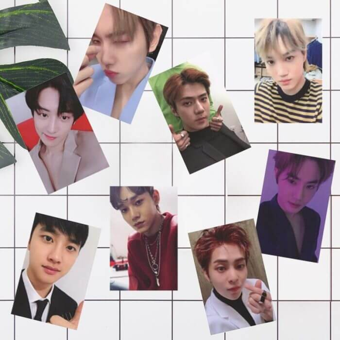 8Pcs/Set  KPOP EXO Album Self Made Paper Card Photo Card Poster HD Photocard Fans Gift Collection 5