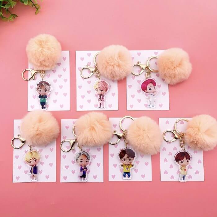 Kpop Bangtan boys Keychain Kawaii Plush pendant Cute cartoon Plush ball pendant key chain High quality K-pop bangtan boys 1