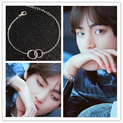 kpop Kim Tae Hyung Bracelet Simple Double Circles Bracelet for Women Men Korean Jewelry bangtan boys Gift for boys Couple 1