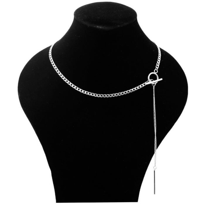 Idol Same Jewelry Fashion Stainless Steel Necklace Long Tassel Pendant Chain Choker Necklace Men Women Gift kpop 2