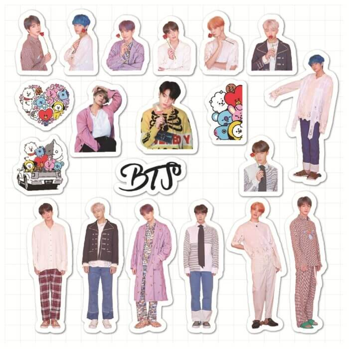 50PCS Korean Kpop Bangtan Boys Stickers for Laptop Skateboard Home Decoration Car Scooter Decal Sticker Toy for Children 2