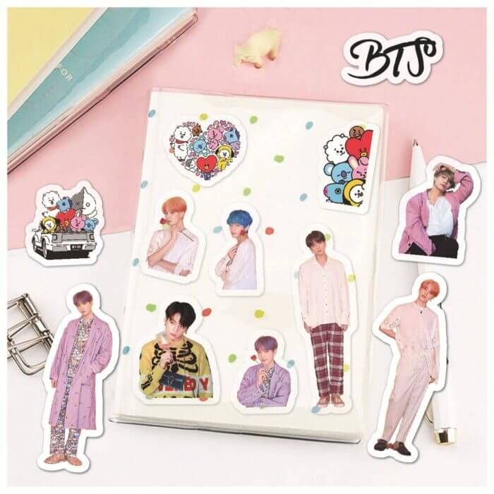 50PCS Korean Kpop Bangtan Boys Stickers for Laptop Skateboard Home Decoration Car Scooter Decal Sticker Toy for Children 4