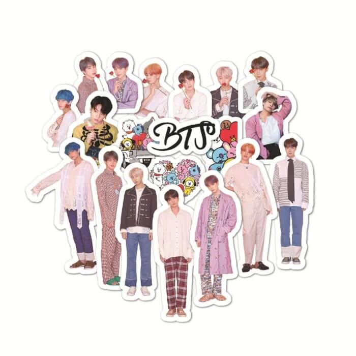 50PCS Korean Kpop Bangtan Boys Stickers for Laptop Skateboard Home Decoration Car Scooter Decal Sticker Toy for Children 1