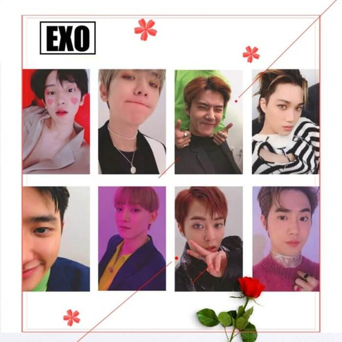 8Pcs/Set  KPOP EXO Album Self Made Paper Card Photo Card Poster HD Photocard Fans Gift Collection 6