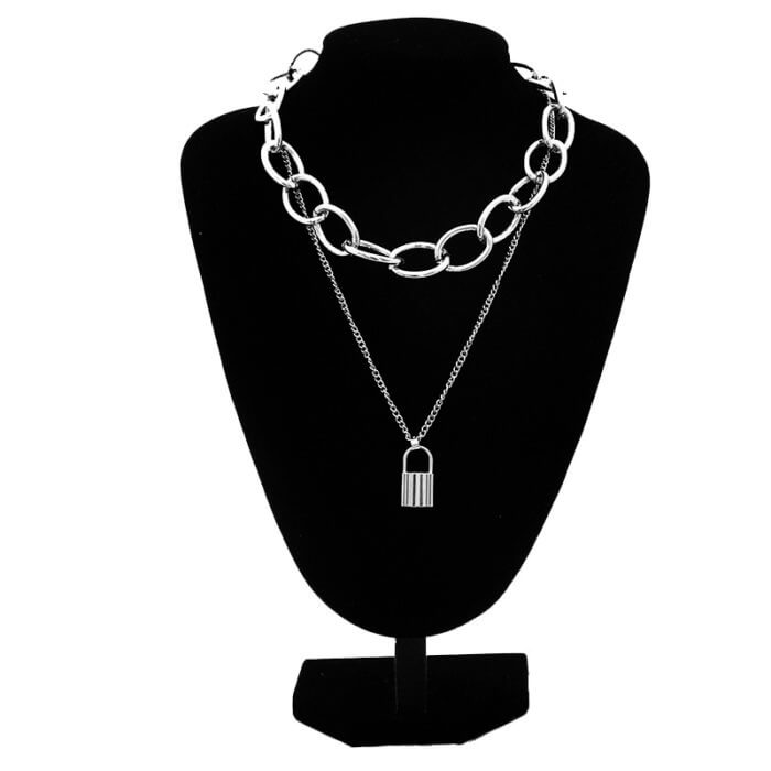 Kpop aesthetic chain necklace gothic chains choker grunge girl emo goth Jewelry chains 90s fashion accessories 5