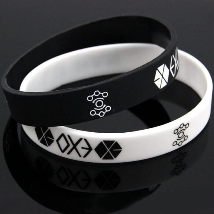 New Bracelets For Men Women Charm Black White EXO Team Logo Silicone Wristband Bracelet Kpop Star #60394 1