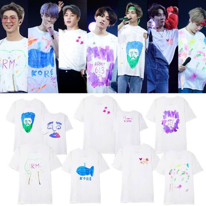 ALLKPOPER KPOP Bangtan Boys Same Graffiti T-shirt 5TH MUSTER  Busan Seoul Concert O-neck short-sleeved T-shirt summer unisex 1