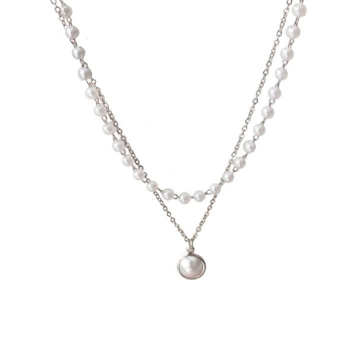 SUMENG 2020 New Fashion Kpop Pearl Choker Necklace Cute Double Layer Chain Pendant For Women Jewelry Girl Gift 2