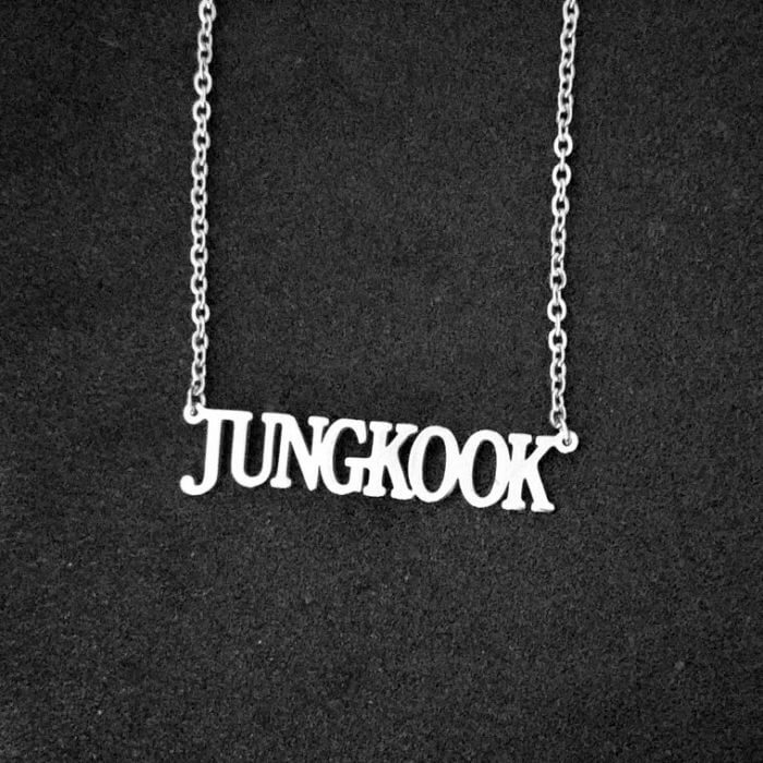 Stainless Steel Jin Suga Jhope Jungkook V Jimin Chain Necklace Letter Friends Fans Gifts Cool Korean Harajuku Boys Kpop Necklace 4
