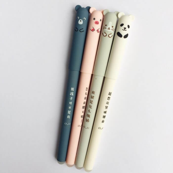 4 Pcs/set Kawaii Pig Bear Cat Mouse Erasable Gel Pen School Office Supplies Stationery Gift 0.35mm Blue Black Ink 12