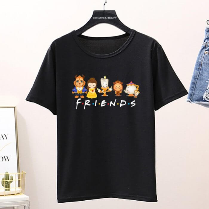 Beauty and The Beast Friends Shirt Cute Vacation Cartoon Graphic Print T-shirt Womens Lovely Couple Top&tee,Drop Ship 1