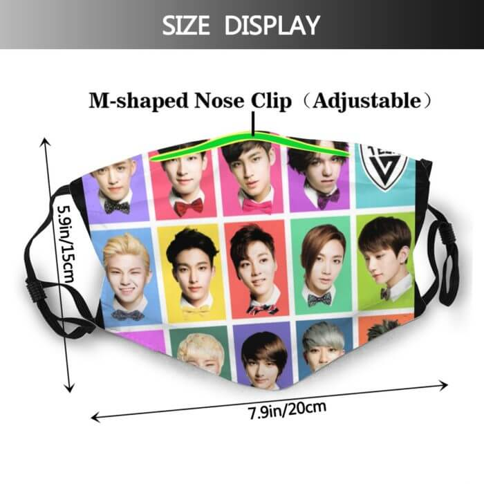 Seventeen Kpop Mouth Face Mask SEVENTEEN Faces Facial Mask with 2 Filters Fashion for Adult Nice Mask 2