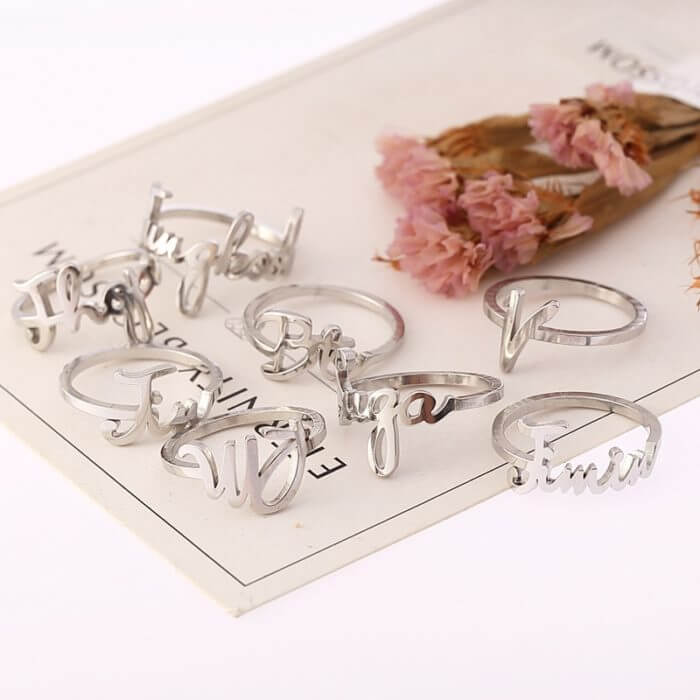 K-pop rings Bangtan Boys Jungkook SUGA JIMIN JIN Stainless Steel Name Finger Rings Bangtan Boys V kpop stationery set supplies 1