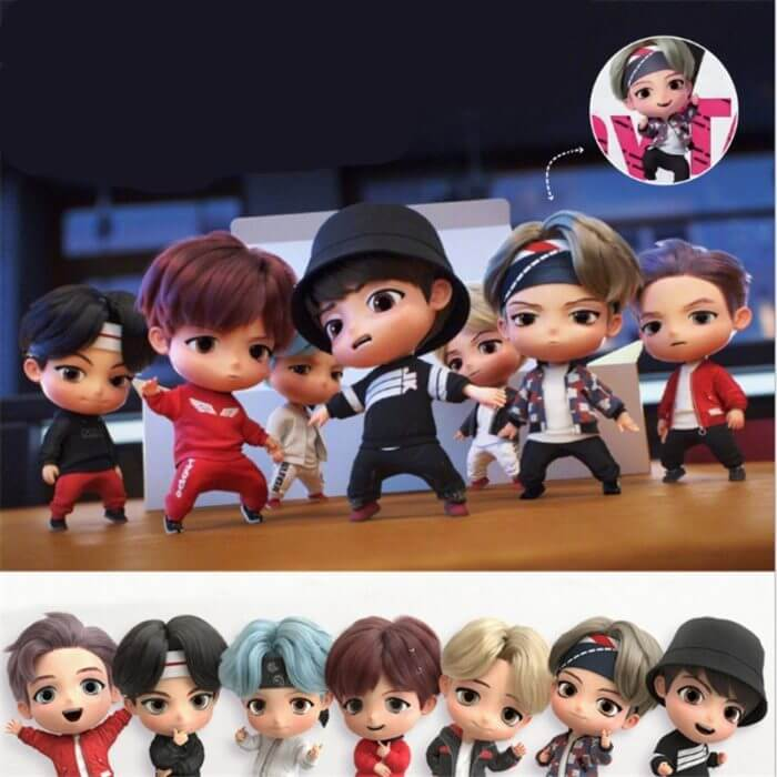 7PCS/set Bangtan Boys Groups Model Toys KPOP Star TOP Group A.R.M.Y PVC Keychain Action Figures Keyring Bt Kid 1
