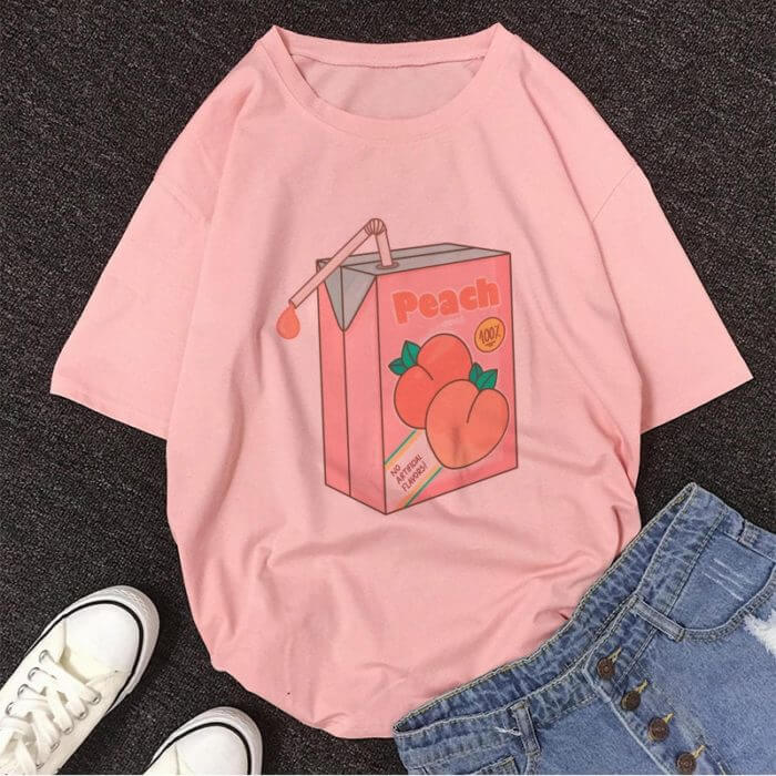 Cartoon Peach Juice Japanses Aesthetic Grunge T shirt Women Harajuku Cute Kawaii Pink Summer Casual Tumblr Outfit Fashion Tops 5