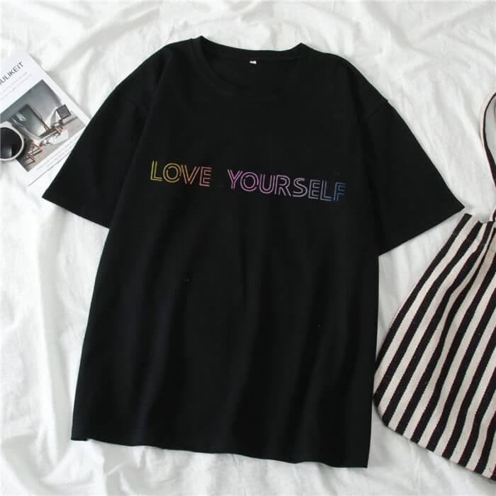 Harajuku T-Shirt Women New Letter Printed Female T Shirt Summer Short Sleeve Casual Korean Kpop Love Yourself Album Tops Clothes 1