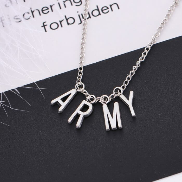 Kpop Jewelry ARMY Letter Necklace for Woman Alloy Letter Necklace Fashion Party Accessories Gift Girl BTS-1149 1