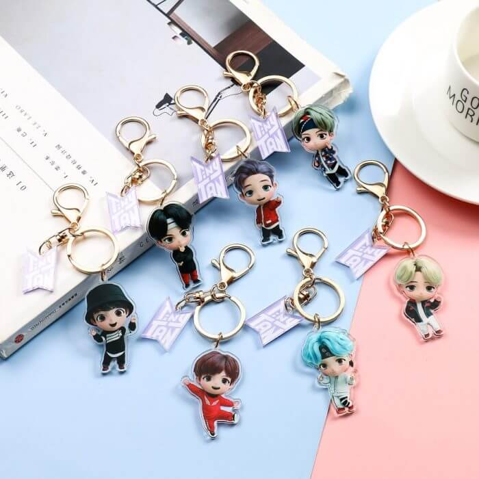 7PCS/set Bangtan Boys Groups Model Toys KPOP Star TOP Group A.R.M.Y PVC Keychain Action Figures Keyring Bt Kid 3