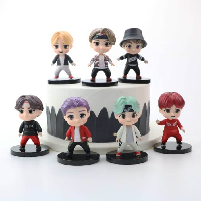 7PCS/set Bangtan Boys Groups Model Toys KPOP Star TOP Group A.R.M.Y PVC Keychain Action Figures Keyring Bt Kid 4