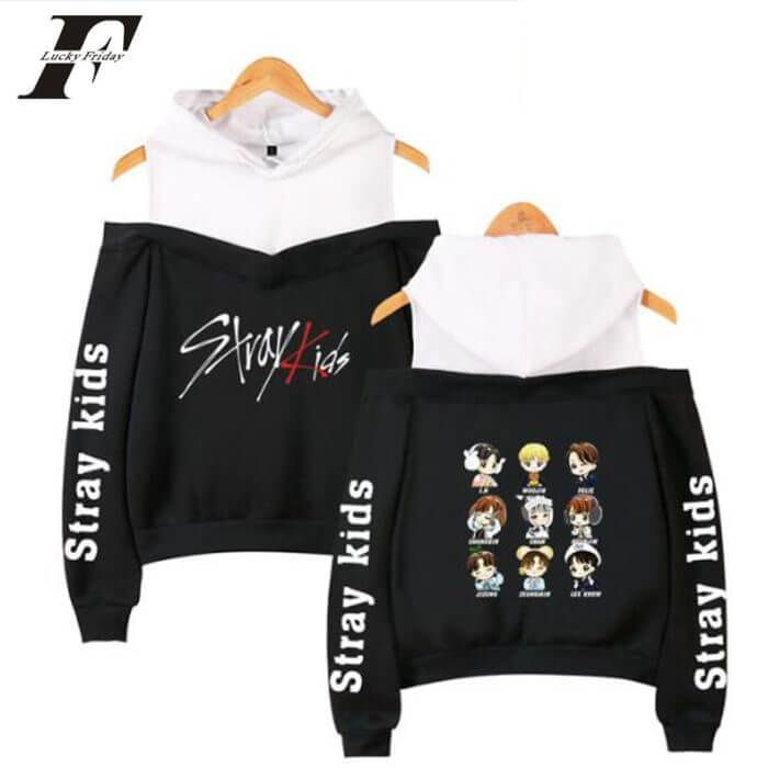 2019 Korean Off Shoulder Stray  kids  KPOP Kids Album Women Hoodies Sweatshirts cotton Long Sleeve Sexy clothes 1
