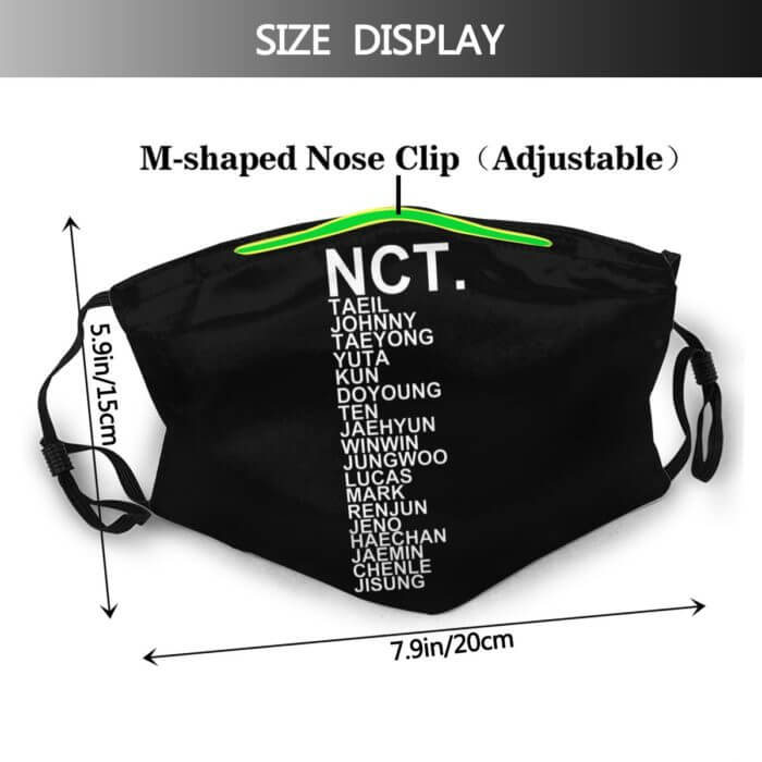 Kpop Nct Mouth Face Mask NCT KPOP Facial Mask Cool with 2 Filters Fashion Adult Mask 2