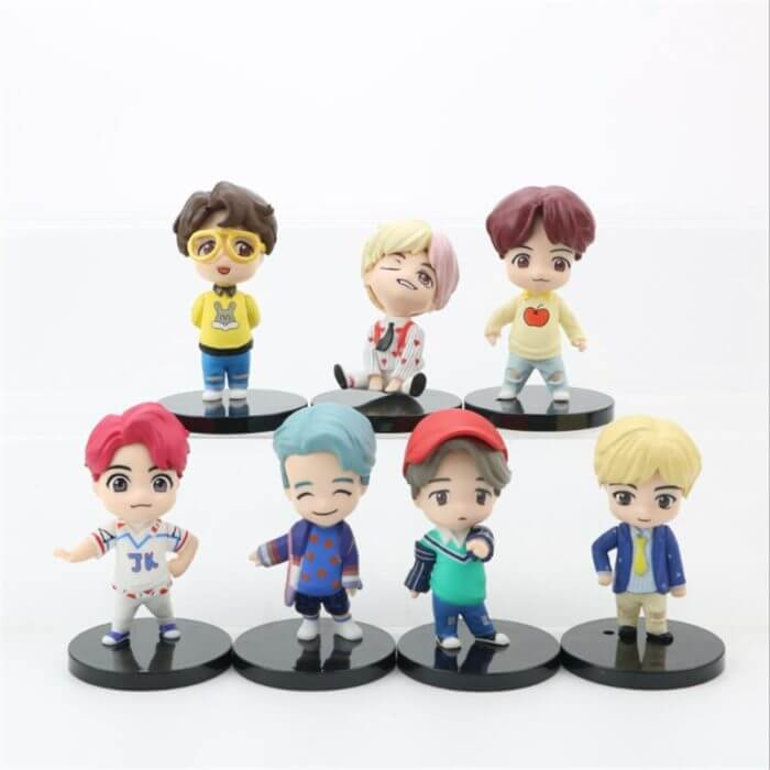 7PCS/set Bangtan Boys Groups Model Toys KPOP Star TOP Group A.R.M.Y PVC Keychain Action Figures Keyring Bt Kid 2
