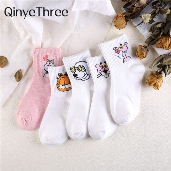 Japanese Kawaii Women Animals Cartoon Tube Socks Cute Egg Rabbit Panther Cotton Long Socks Female and Ladies Pink Milk White Sox 1