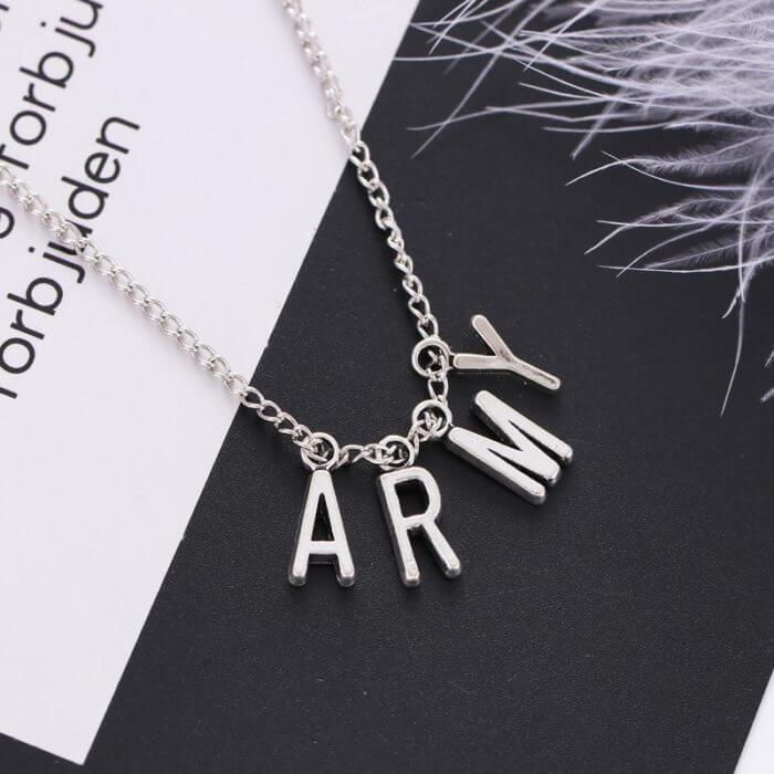 Kpop Jewelry ARMY Letter Necklace for Woman Alloy Letter Necklace Fashion Party Accessories Gift Girl BTS-1149 3