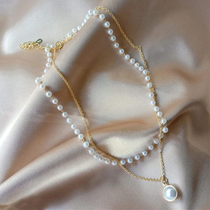SUMENG 2020 New Fashion Kpop Pearl Choker Necklace Cute Double Layer Chain Pendant For Women Jewelry Girl Gift 4