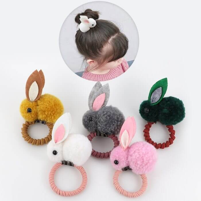 Cute animal hair ball rabbit hair ring female rubber band elastic hair bands Korean headwear children hair Accessories ornaments 1