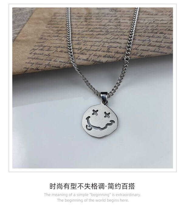 Smiley Face Necklace Women Chain Figure High Quality Pendant Necklaces Girl Jewelry Silver Color Trendy Kpop Zinc Alloy Collares 18