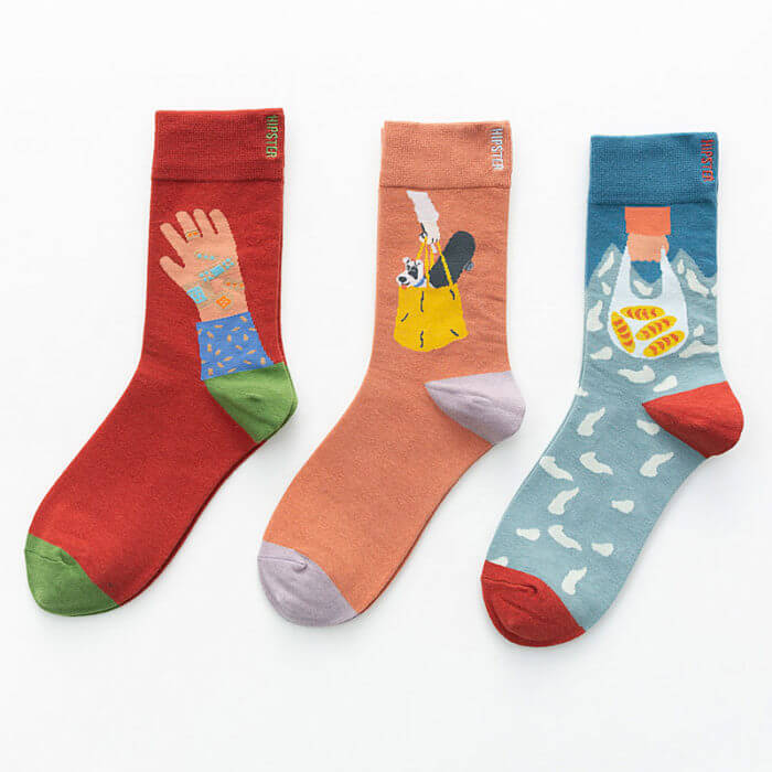 Unisex Painting Style Women Socks 100 Cotton Harajuku Colorful Kawaii  Full Socks Women1 Pair  Streetwear Size 35-43 5